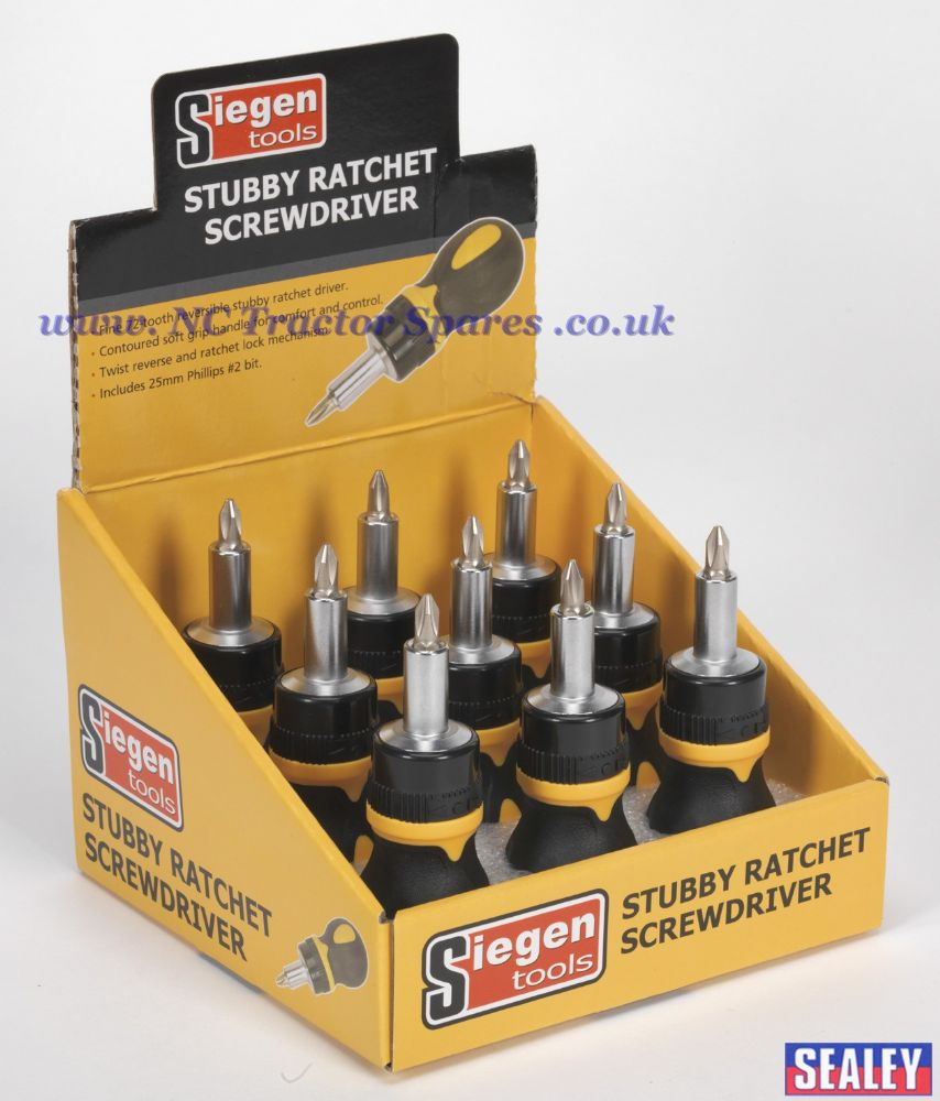 Screwdriver Ratchet Stubby Display Box of 9